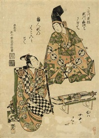 sanogawa ichimatsu i and segawa kichiji ii (benizuri-e) by ishikawa (nishimura shigenobu) toyonobu