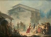 fête villageoise devant un parc à l'italienne by jean barbault
