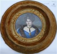 portrait de jeune femme les cheveux relevés en chignon et en anglaises, en robe bleu et étole de fourrure, parée d'une croix et de boucles d'oreilles en or by belgian school (19)