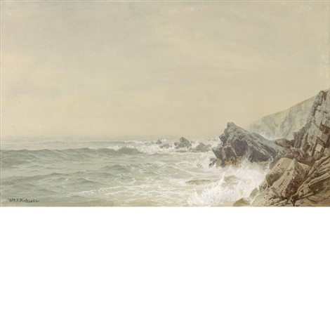 seascape with rock coast by william trost richards