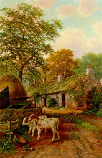 calves and chickens in a farmyard by albert dunington