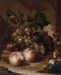 a plum, grapes on the vine and medlars on a ledge with peaches, a snail in the foreground by willem grasdorp