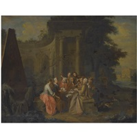 an elegant musical company beside classical ruins by pieter jacob horemans