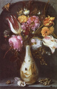 a still life of tulips, roses, an iris, carnations and other flowers in a chinese vase with a frog, a snail and other insects by jacob woutersz vosmaer