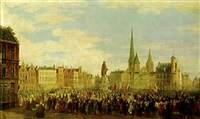 a celebration on the vrijdagmarkt, ghent by françois jean louis boulanger