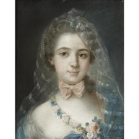 a portrait of a lady with a pink bow by jean valade