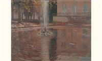 bassin et jet d'eau dans un parc by francois marie léon de marliave