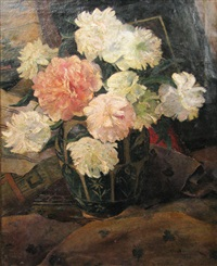 vase with peonies by dimitrie bascu