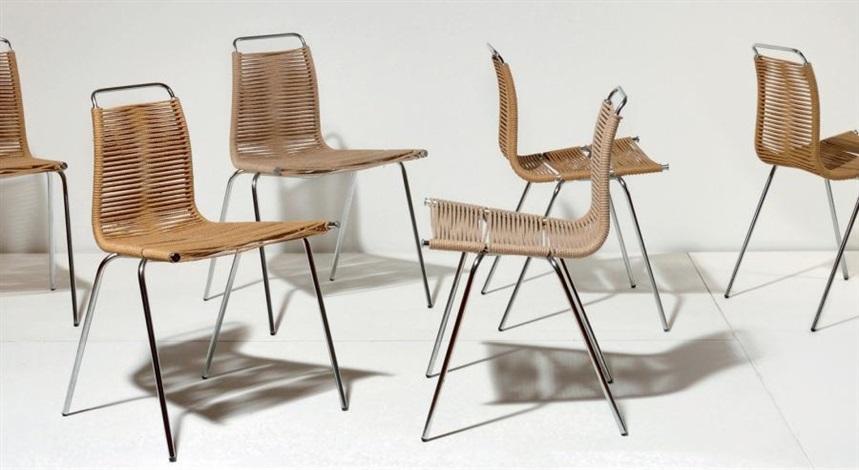suite de six chaises ekc 3 set of 6 by poul kjaerholm