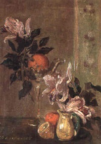 still life with lilies, oranges and lemon by sofie-zo atteslander