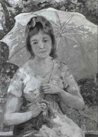 femme à l'ombrella by cesare bacchi