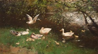 family of ducks by the water's edge by willem maris