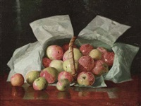 lady apples in overturned basket by william j. mccloskey