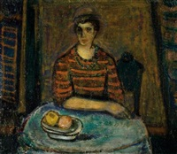 woman seated by a table by avraham naton