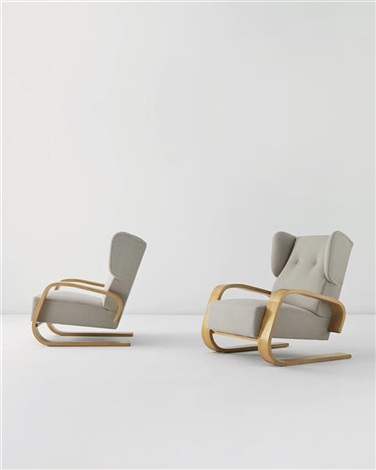 tank armchairs pair by alvar aalto
