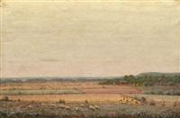 sheep grazing in a landscape by george hetzel