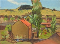 farm buildings in a landscape and landscape (verso) by rita angus