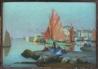 scène de port breton animée by mathurin janssaud