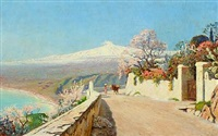 view of sicily with mount etna in the background by olaf viggo peter langer