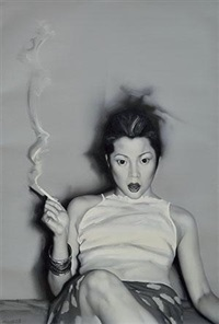 untitled (girl with cigarette) by he sen
