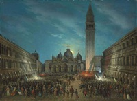 carnival in the piazza san marco by moonlight by calle leone