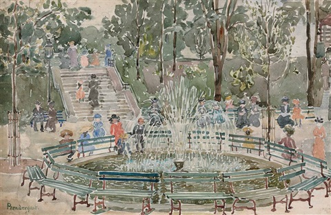 fountain central park by maurice brazil prendergast