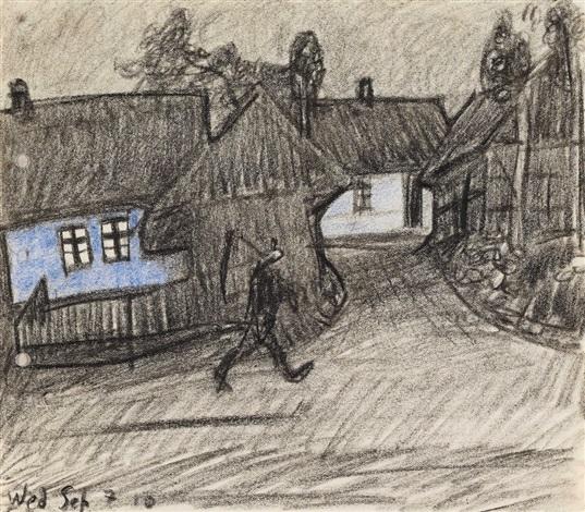 dorfstraße in der dämmerung und mann mit sense by lyonel feininger