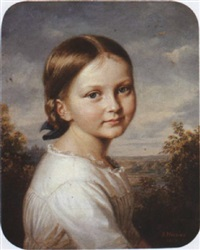 portrait of a young girl in a white dress by adolf henning