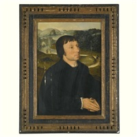 portrait of a donor, dressed in black, a landscape beyond by dutch school-southern (16)