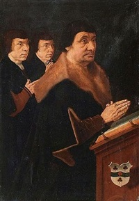 donateur et ses fils (+ donatrice et ses filles; 2 works) by bartholomäus (barthel) bruyn the younger