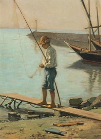 coastal scenery with a boy and his fishing pole by jules gachet