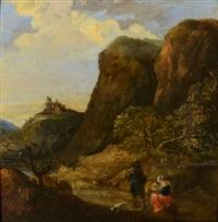 landscape with view of distant castle by philips de momper the elder