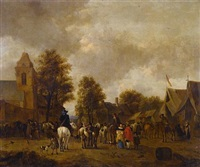 a horse fair in a village square by jacobus koolen