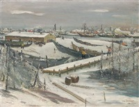 bootswerft im winter by paul martin leonhardt