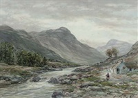 evening in a perthshire glen, near pitlochry (+ clearing after rain, dysart; pair) by john hamilton glass