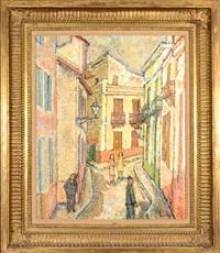 village street scene by gustave loiseau