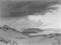 passing storm over a salt marsh - etaples by george w. picknell
