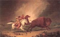 assiniboine hunting buffalo by paul kane