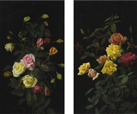 roses and pink and yellow roses (pair) by george cochran lambdin