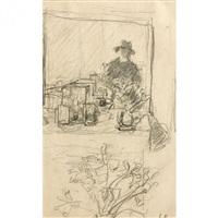 autoportrait dans un miroir et étude d'une vase de fleurs by edouard vuillard
