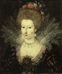 a portrait of an elegant lady, bust length, wearing an   ornate dress with a lace ruff and a bejewelled brooch, with by marguerite labelune