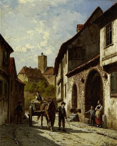street scene by jacques françois carabain