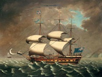 a frigate ot the blue squadron off the coast by william (of liverpool) jackson