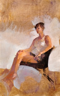 seated woman by amnon david ar