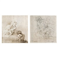 madonna and child and st. john the baptist (+ study for a deposition, verso) by pietro faccini