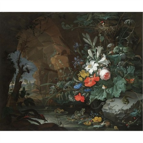 the interior of a grotto with a rock pool frogs salamanders a birds nest and a large bouquet of flowers including poppies and lilies a view of a landscape through the cave opening beyond by abraham mignon