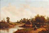 le lavoir près de la rivière by camille flers