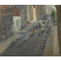 lower 5th ave., nyc, looking toward the arch at washington square by alfred s. mira