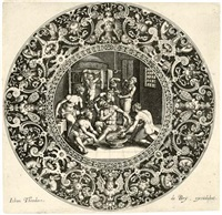 sardanapal in the bath, attended by slaves (+ 2 others; 3 works after maarten de vos) by johann theodor de bry
