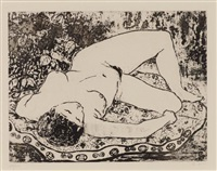 femme allongée by pan yuliang